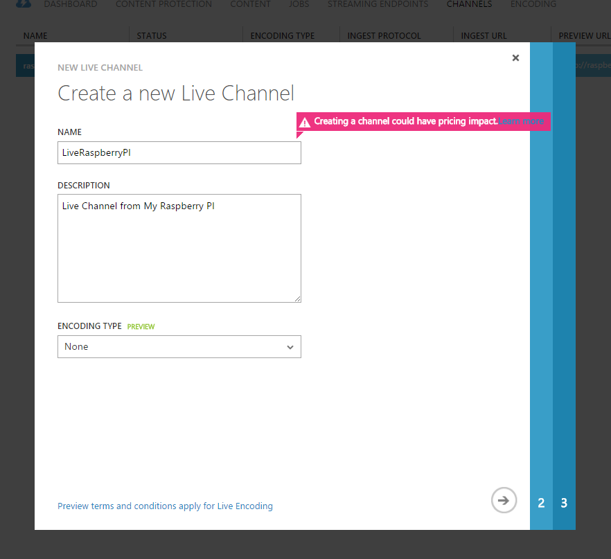 Specify Azure Media Services Channel Proerties