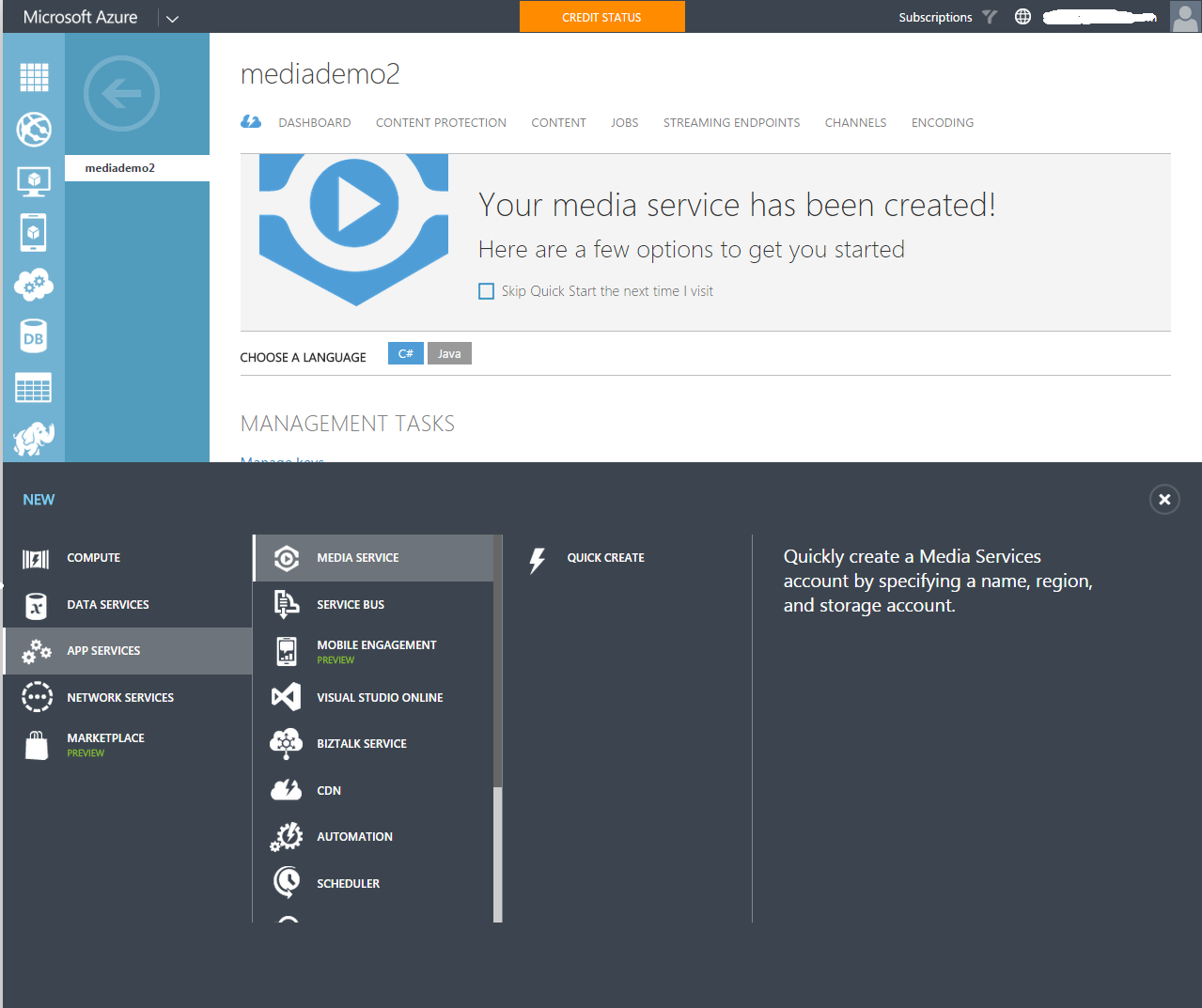 Provision Azure Media Services Account