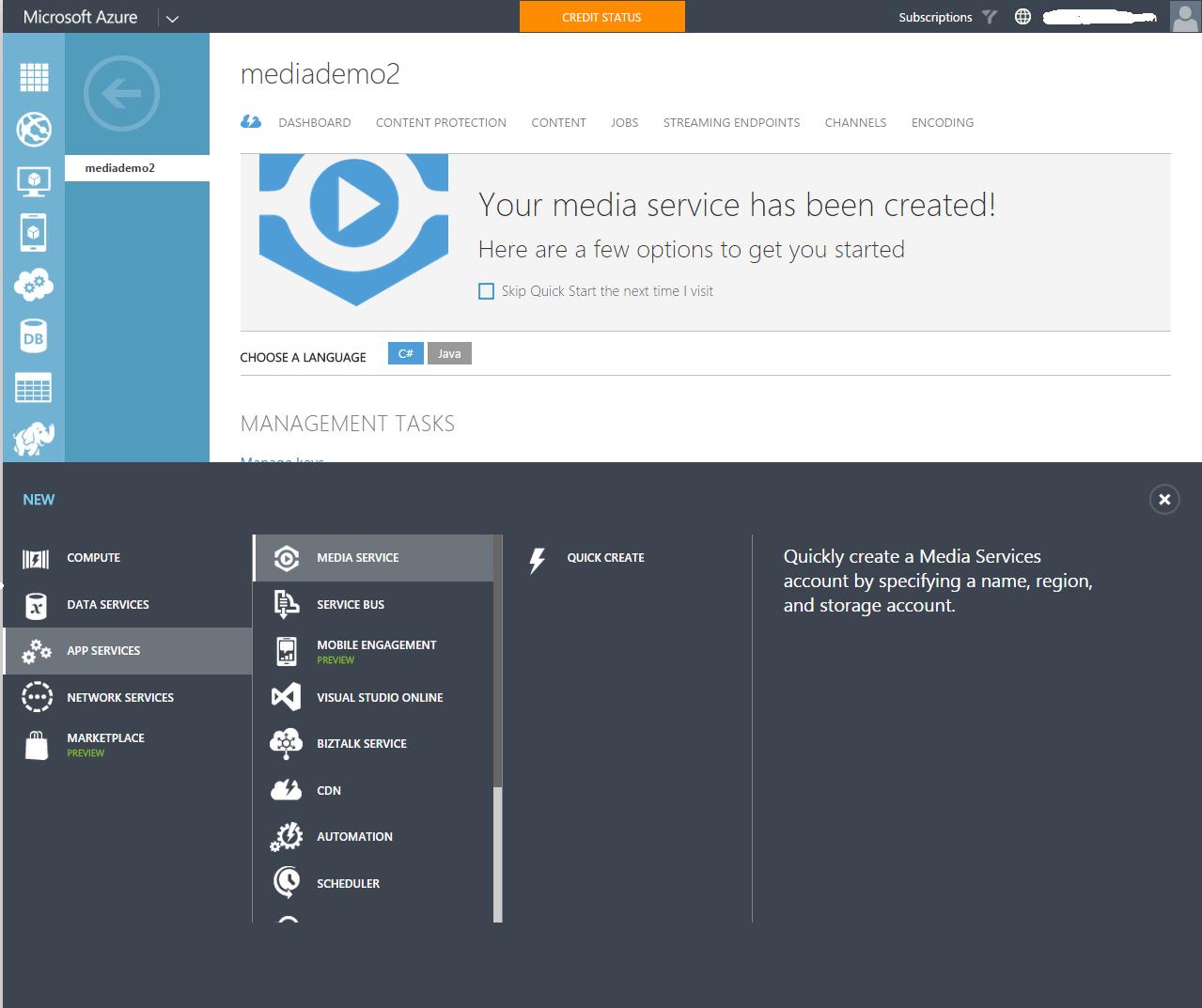 Provision Azure Media Services Account